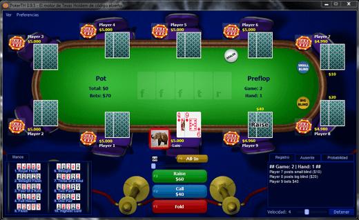 Jugando una partida en el VideoJuego PokerTH